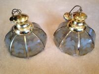 Pair of Pendant Light Fitting (with Low Energy Bulbs)