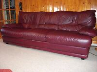 Three seat Red Leather Sofa and one Red Leather Chair