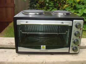 Andrew James 33 Ltr Black Mini Convection Oven Grill Double Hob Hotplate