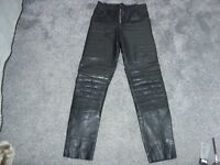 leather black padded motorbike trousers size small