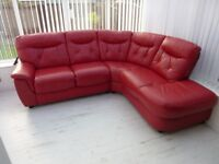 Associate 6 seater corner sofa in red leather