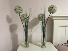 Various Vases and artificial flowers