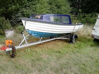 15.5ft fishing boat and trailer with or without mariner 6hp outboard