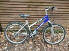 Raleigh mantis ladies bike, 26 in wheels, 18 gears, 17 in frame, front suspension, mudguards,
