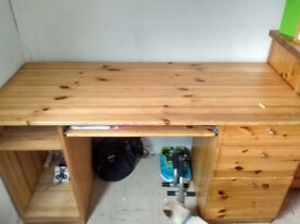 Solid pine desk with pull out keyboard drawer and 3 draw's