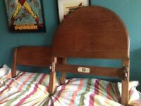 Small single bed 1940s? wooden head and foot board