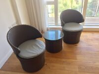 Outdoors Rattan Two chairs and table set - Bow, East London
