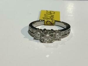 #197 19K WHITE GOLD PAST PRESENT FUTURE ENGAGEMENT RING 1.29 CTW *SIZE 5 3/4* APPRAISED AT $8550 SELLING FOR ONLY $2295!