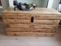 Large rustic wooden trunk/storage chest/coffee table. Clamshell lid. Reclaimed,handcrafted, 100cm