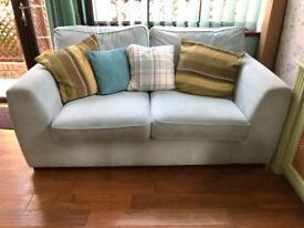 2N: 2 seat blue fabric sofa's