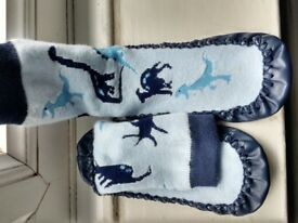 Boys Moccasins / Slipper Socks, dinosaurs design