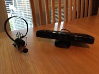 ** Great Condition ** - Microsoft Kinect Sensor for XBOX 360, Headset & 'Kinect Adventures' game