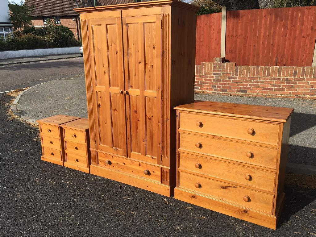 Good quality solid pine wardrobe chest set with possible delivery