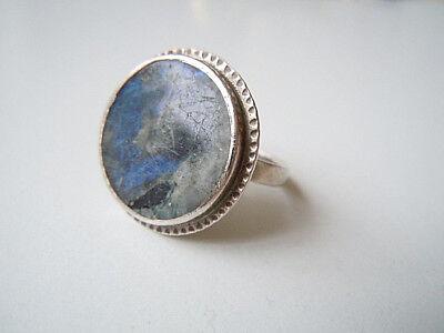Geprüfter Silber Ring mit runder Labradorit Edelstein Scheibe 6,9 g/RG 54