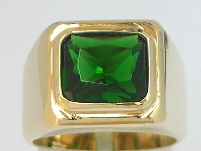 11 X 9 mm May Green Emerald Birthstone Men's Solitaire Jewelry Ring Size 9