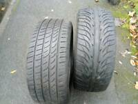 Two part worn tyres 225/45/17, both good condition, taken off my car as it needs run flats.