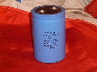 Sprague Powerlytic 36d 55000 Ufmfd 25 Vdc Capacitor