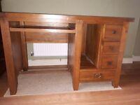 Solid dark oak office/computer desk, excellent condition, reclaimed oak