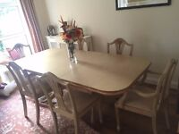 Hand Painted French Style Dining Table and 6 Chairs