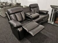 Miami Black 3 + 2 Sofa Suite Set PU Leather BRAND NEW
