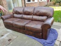 Real leather 3 seat sofa with matching chair