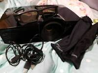 Optoma HD 3D Projector with screen and glasses