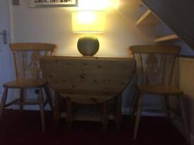 Extendable told away Solid Antique Pine table with 4 chairs