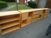 Beech shelving modular units with doors and drawers, great storage, HABITAT