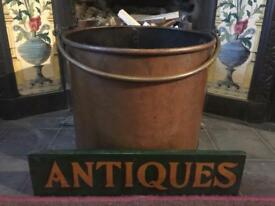 Antique Arts & Crafts Copper Fireside Coal / Log Bucket - Early 1900's