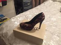 Next lace stiletto black and pink