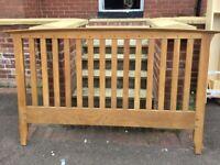 Oak bed frame 162cm wide and 209cm long.