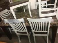 Marble table £180 chairs £75 each