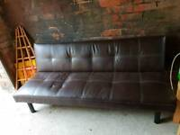 Sofa bed. Brown leather