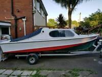 Shetland 535 cabin cruiser fishing boat 50hp outboard and trailer