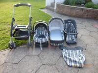 Pram, cot, car seat, buggy: matching set Mama & Papas primo viaggio