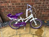 "Girls 16"" Raleigh bike used for sale , also helmet and frozen scooter all used but great condition"