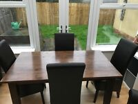 Mahogany Dining table seats 6 (with extensions to make it 8) with 4 chairs £350