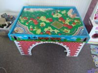 Thomas the Tank Engine table and wooden railway track and trains