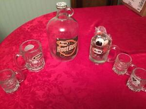 Antique A&W Jug,Bear, and Mugs