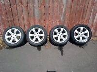 4 X 16 INCH PEUGEOT ALLOY WHEELS WITH PART WORN ALL MIXED TYRES