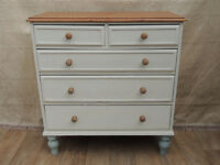 Shabby chic solid pine chest of Drawers (Delivery)