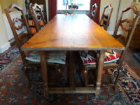 Extra long antique plank top farmhouse refectory dining table