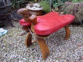 Carved Timber Camel Saddle/Stool.