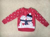Girls BNWT Mothercare Pink Snowmen Christmas Jumper Age 3-4 years