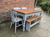Rustic farmhouse table, 4 chairs +1 reclaimed/hancrafted bench. Grey shabby chic. LOCAL DELIVERY.
