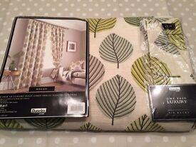 Regan green leaf eyelet curtains - NEW