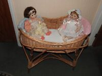 2 x collector dolls and moses basket