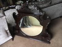 Antique overmantle mirror