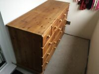 Large Solid Pine 13 Drawer Merchants Chest of Drawers