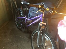Child's bike. Landrover. Purple. Good condition.